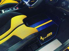 ferrari 458 black blue and yellow interior floor mats