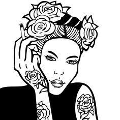 PORTRAIT DE FEMME - ROSE TATTOO #DESSIN #ART #DRAWING #GRAPHISM #ARTWORK #GIRL #FUN #SEXY #GIRL #REBEL #LOVE #FASHION