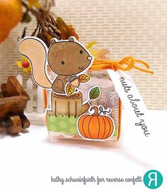 DIY fall treat box by Kathy Schweinfurth. Reverse Confetti stamp set: Nuts About You. Confetti Cuts: Nuts About You and Box Wrap. RC 6x6 paper pad: Every Little Bit. Squirrel and pumpkins.