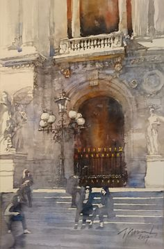 Jacek Jaroszewski- L'Opéra- watercolour 56x36 cm, 2017