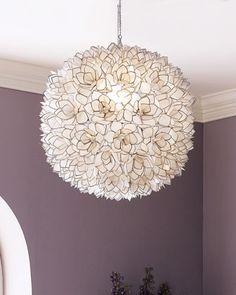 Capiz-Shell Pendant Light modern chandeliers. Girl's room or home office. $549 Horchow