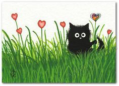 Black Cat Field of Red Hearts  Art Print or ACEO por AmyLynBihrle