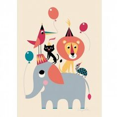 Ingela Arrhenius Animal Party Poster By Omm Design