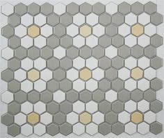 Gray, White & Light Yellow 1 x 1 glazed porcelain mosaic hex tile pattern from the Lyric Retro Hexagon Tile Pattern Collection - Repeating Rosettes Hex Tile, Hexagon Tiles, Mosaic Tiles, Hexagon Pattern, Yellow Tile, Grey Tiles, Laundry Room Colors, Laundry Rooms, Victorian Kitchen