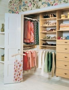 reach-in closet. I love how the recessed space on the left side is utilized.