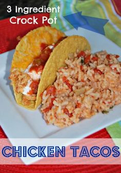 Do you typically make beef tacos? I always did because it seemed like chicken tacos were normally a little dry or bland. Then I tried these crock pot chicken tacos! The chicken is moist and full of flavor – absolutely Chicken Tacos, Chicken Meals, Chicken Recipes, Taco Ingredients, Crock Pot Tacos, Food For Thought, Mexican Food Recipes, Crockpot Recipes, Delish