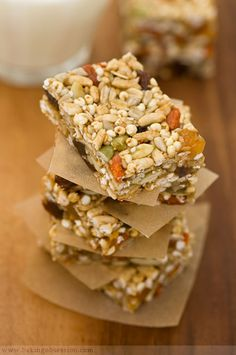 ENERGY BARS:  These are full of healthy ingredients and right calories. Fruits, seeds, and cereal can be varied to suit any personal taste or budget. The bars can be made with any nut butter you prefer.