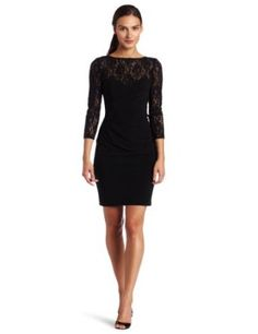 evan picone womens lace dress with sleeve and v back similar to my pdc dress