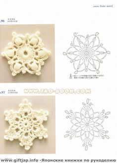 crochet snowflake. Connected to great online free book (you can save the pages as image files) with other beautiful patterns. Also detailed walk through of stitches.