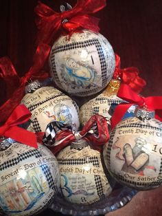 "4"" decoupage ornaments featuring Christian images for each day of Christmas. One of 4 inspiration projects included in the Ornament Kit."