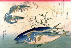 New item in my etsy shopAji/Muroaji/Maaji and Ebi (horse mackerel & shrimp/prawn) - Japanese woodblock print reproduction Ando Hiroshige by PanchromaticaDesigns. Find it here http://ift.tt/1siFpcv