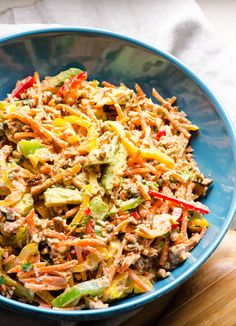 Canned Salmon Salad. Canned Salmon Salad with crunchy bell peppers creamy avocado and tangy capers. Healthy and affordable salmon salad! Canned Salmon Salad, Canned Salmon Recipes, Salmon Salad Recipes, Healthy Salad Recipes, Fish Recipes, Seafood Recipes, Chicken Salad, Chicken Zucchini, Tuna Salad