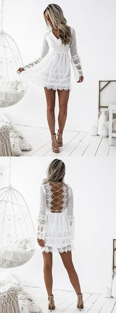 long sleeve white homecoming dress,simple lace short prom dresses,sexy criss cross back party dress,summer outfits