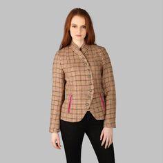 Womens Tweed Blazer, Irish Made, Wool, Wool Jacket, Wool Blazer, Donegal Tweed, Ladies Wool Jacket, Blazer - Beige & Pink Houndstooth Blazer Jackets For Women, Blazers For Women, Tweed Blazer, Tweed Jacket, Pink Accents, Donegal, Houndstooth, Bright Pink, Irish