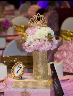 pink and gold centerpiece at a princess birthday party! See more party planning ideas at ! Princess Theme Party, Baby Shower Princess, Royalty Theme Party, Quinceanera Centerpieces, Quinceanera Party, Quinceanera Dresses, Princesse Party, Sweet 16 Centerpieces, Princess Party Centerpieces