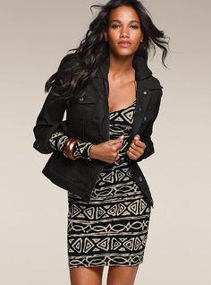2-in-1 denim jacket, tribal print dress - Victoria's Secret