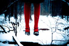 red tights in the snow!!