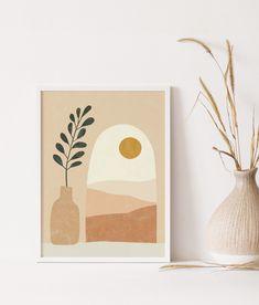 Abstract Canvas Art, Abstract Print, Canvas Wall Art, Wall Art Prints, Abstract Painting Modern, Desert Mountains, Desert Art, Bohemian Art, Guache