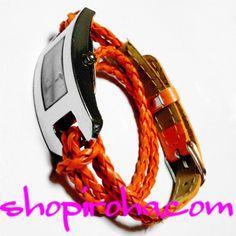 三つ編み・レザーベルト・2連ブレスレットのカラフル腕時計・ブレスウォッチ・橙・オレンジ shopiroha.com ジュエリー・アクセサリー・通販