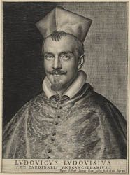 Ottavio Leoni (Rome, 1578-1630) ~ Cardinal Ludovico Ludovisi ~ Engraving ~ 1628 ~ Ludovico Ludovisi (1595-1632) was created Cardinal within three days of his uncle Alessandro Ludovisi's election as Pope Gregory XV in 1621. He ran the frail Gregory's affairs and accrued vast wealth. He assembled the finest collection of antique sculpture in Rome, and patronized artists from his native Emilia. After Gregory's death in 1623, Ludovico lost power but kept the position of Vice-Chancellor.