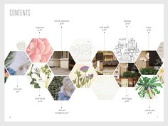 Blogging  -- Aprile Elcich | honeycomb contents page, love this interesting and unusual design with honeycomb layout, has a deconstructed feel that is interesting to me. FAVORITE.
