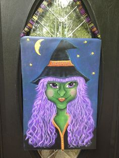 Hand painted Halloween Witchy-poo  on canvas. http://amgpaints4u.blogspot.com