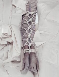 Pinsanity / karen cox. White avant garde fashions. White textures. By Paola Kudacki for i-D Summer 2013