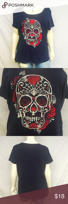 Torrid Sugar Skull Tee Torrid sugar skull tee! Navy blue with a red and white sugar skull graphic. New with tags, undamaged. Smoke and pet free home. 100% cotton. torrid Tops Tees - Short Sleeve