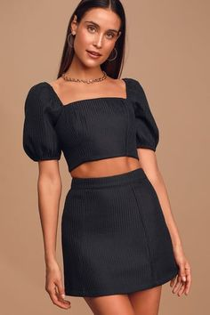 No one pulls off a lewk quite like you, so go ahead and show them all up in the Lulus Nobody But You Black Textured Mini Skirt! Textured A-line mini skirt. Cute Casual Outfits, Casual Dresses, Women's Casual, Summer Outfits, Two Piece Dress Casual, 2 Piece Outfits, One Piece Dress, Two Piece Outfit, Skirt And Top Set