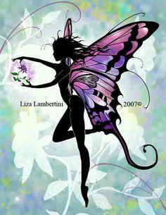 Flower Fairy by Liza Lambertini Elfen Fantasy, Fantasy Art, Fairy Silhouette, Fairy Drawings, Fairy Tattoo Designs, Elves And Fairies, Dark Fairies, Fairy Pictures, Butterfly Fairy