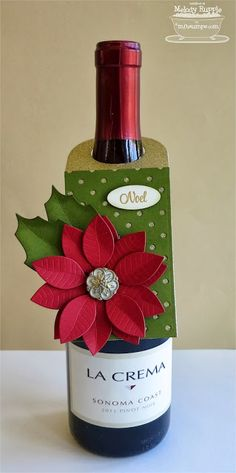 tag wine bottle christmas tag poinsetta flower MFT poinsettia Die-namics MFT polka dots cover up background , christmas wine bottle tag - Noel by mrupple - Cards and Paper Crafts at Splitcoaststampers Wine Bottle Tags, Wine Tags, Wine Bottle Crafts, Wine Bottle Covers, Wine Bottles, Christmas Paper Crafts, Christmas Wine, Christmas Gift Tags, Christmas Ideas
