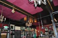Louisa's in Seattle, Wa. Acoustic Panels, Track Lighting, Seattle, Restaurants, Construction, Ceiling Lights, Dessert, Coffee, Space