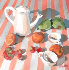 Strawberry Picnic – Joanne Hastie Painting Still Life, Still Life Art, Interior Styling, Interior Decorating, Tea Pots, Picnic, Original Paintings, Strawberry, Gallery Wall