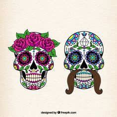 More than a million free vectors, PSD, photos and free icons. Exclusive freebies and all graphic resources that you need for your projects Mexican Skulls, Mexican Folk Art, Caveira Mexicana Tattoo, Occult Tattoo, Posca Art, Sugar Skull Art, Sugar Skulls, Free To Use Images, Cross Stitch Heart