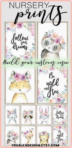 Look at other nursery arts by #yrsalka Girl woodland animals print set of 4 Girl art pink animal nursery print Boho woodland animal creatures Floral Forest Printable Nursery Art #instantdownload #woodlandnursery #etsyseller #nurseryart #nurserydecor #girl