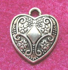 10 Pcs. Antique Silver HEART With Diamond Charms Pendants Tibetan Findings H92 #Tibetan