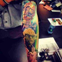 C3PO and Yoda tattoo