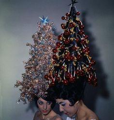 Vintage photo of wimmin rocking amazing Christmas tree hats. Brava!