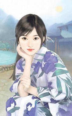 手绘现代美女。