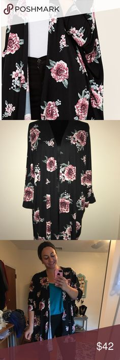 Floral dolman kimono Buttery soft kimono with beautiful floral print on a black background Sweaters Cardigans