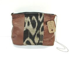 This is a genuine leather and genuine silk shoulder bag. The silk fabric is handwoven ikat silk from India -- just so beautiful, & different. *This bag is ready to ship & will ship out in days ♥ Lambskin Leather, Cowhide Leather, Leather Bag, Leather Purses, Leather Handbags, Cute Bags, Handmade Bags, Silk Fabric, Fabric Material