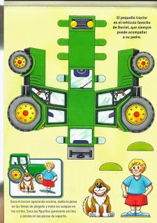 Paper Crafts Origami, Paper Crafts For Kids, Cardboard Toys, Paper Toys, John Deere Crafts, Tractor Crafts, Imprimibles Toy Story Gratis, Farm Animals Preschool, Origami 3d