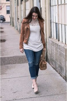 Spring Style| Mock Neck| Lace Top| Girlfriend Jeans| Studded Bag| Moto Jacket| Spring Outfit Ideas| Click the pin to see more details