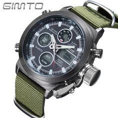 watch 2017 Brand GIMTO Quartz Digital Sports Watches Men Leather Nylon LED Military Army Waterproof Diving Wristwatch Men's Watch