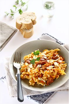 Pasta with chorizo. A simple and savory pasta recipe perfect for lunch or dinner.