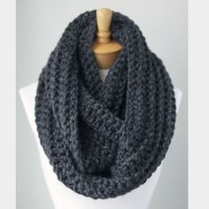 Chunky knit scarf New. Thick Infiniti scarf. Charcoal gray color Accessories Scarves & Wraps