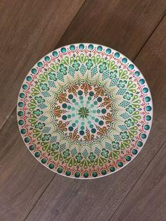 Decorative Hand Painted Plate by StippledGlass on Etsy Mandala Artwork, Mandala Painting, Dot Painting, Mandala Dots, Mandala Design, Hand Painted Plates, Decorative Plates, Hand Painted Pottery, Wall Plates