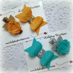 Sweet Wool Felt Rosette Flower and Bow Set - Choose ANY Color - Glitter Hair Clips ~ Silver and Gold ~ Custom Gift Set