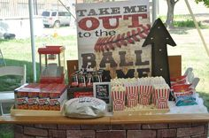 Fun dessert table at a baseball baby shower party! See more party planning ideas at CatchMyParty.com!
