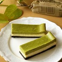 Baked Matcha Cheesecake Squares. A beautiful treat and simple to make. The crust uses Oreo crumbs, or you can substitute graham crackers! #matcha #dessert